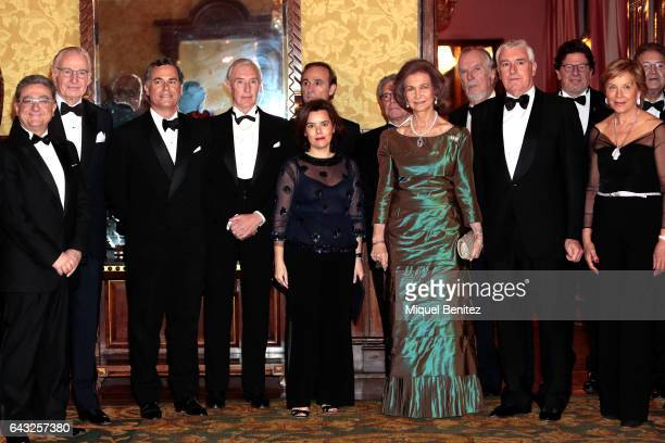Queen Sofia of Spain and Spanish Deputy Prime Minister and the Minister of Regions Soraya Saenz de Santamaria attend the golden medal ceremony of the...