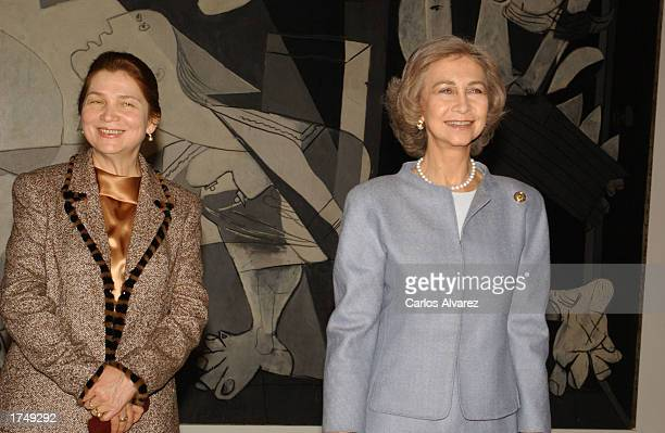 Queen Sofia of Spain and Tatiana Karimova , wife of the President of Uzbekistan, visit Museum Queen Sofia January 28, 2003 in Madrid, Spain.