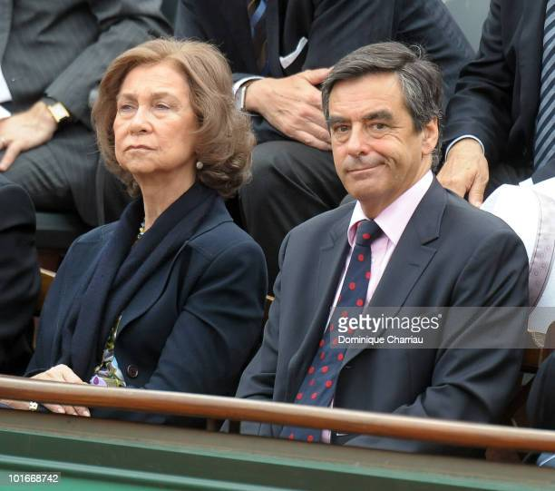 Queen Sofia of Spain and the Prime Minister Francois Fillon of France attend the French Open on June 6 2010 in Paris France