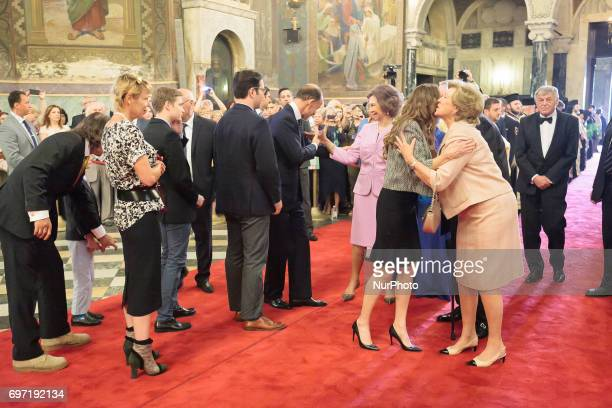 Queen Sofia of Spain arrives a mass to celebrate the 80th birthday of the Bulgaria's exKing and former Prime Minister Simeon SaxeCoburgGotha at the...