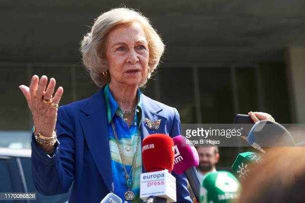 Queen Sofia of Spain arrives at the hospital to visit King Juan Carlos who has undergone heart surgery on August 25 2019 in Pozuelo de Alarcon Spain