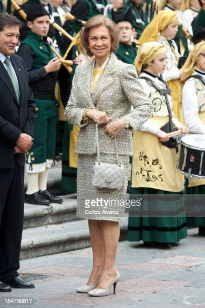 Queen Sofia of Spain arrives at the Reconquista Hotel during the Principes de Asturias Awards 2012 on October 26 2012 in Oviedo Spain