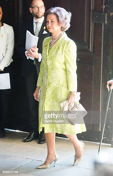 Queen Sofia of Spain arrives at the Royal Palace to attend Te Deum Thanksgiving Service to celebrate the 70th birthday of King Carl Gustaf of Sweden...