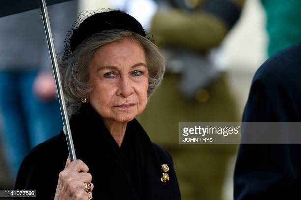 Queen Sofia of Spain arrives for the funeral ceremony of Jean d'Aviano Grand Duke of Luxembourg on May 4 in Luxembourg City The Grand Duke of...