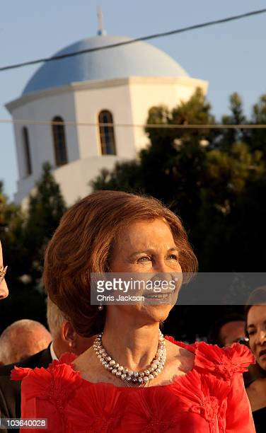 Queen Sofia of Spain arrives for the wedding of Prince Nikolaos and Miss Tatiana Blatnik at the Cathedral of Ayios Nikolaos on August 25, 2010 in...