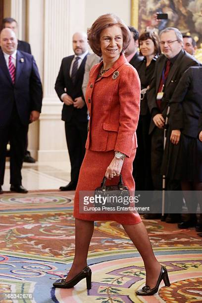 Queen Sofia of Spain Attends '2012 Queen Sofia Awards' at Zarzuela Palace on April 3 2013 in Madrid Spain