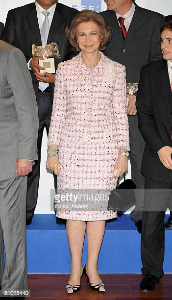 Queen Sofia of Spain attends 25th international journalism awards Rey de Espana and 4th journalism award Don Quijote on May 08 2008 at Retiro Park in...