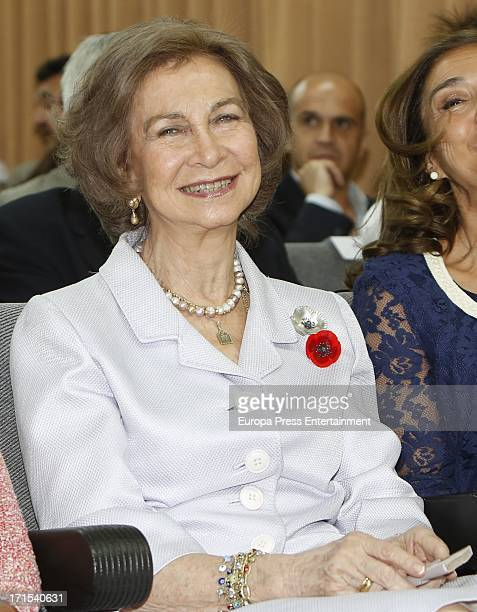 Queen Sofia of Spain attends 4th Cajal Certificate delivery and visits 'Legado Cajal' exhibition at Cajal Institute on June 26 2013 in Madrid Spain