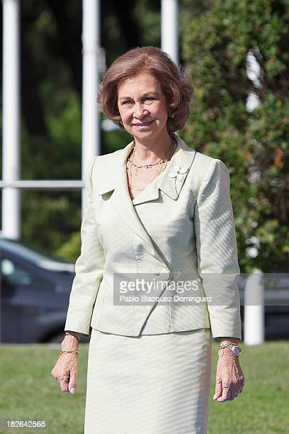 Queen Sofia of Spain attends a ceremony to officiallyunveil the Mahatma Ghandi sculpture at Plaza Joan Miro on October 2 2013 in Madrid Spain