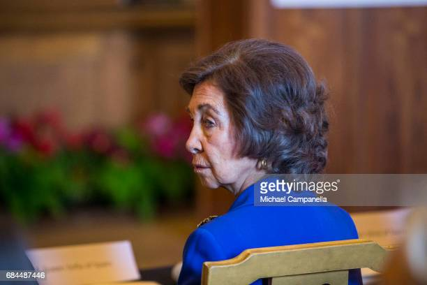 Queen Sofia of Spain attends a Dementia Forum at the Stockholm royal palace on May 18 2017 in Stockholm Sweden