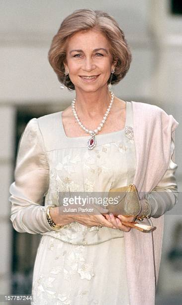 Queen Sofia Of Spain Attends A Gala At Bridgewater House Prior To The Wedding Of Princess Alexia Of Greece And Carlos Morales Quintana.