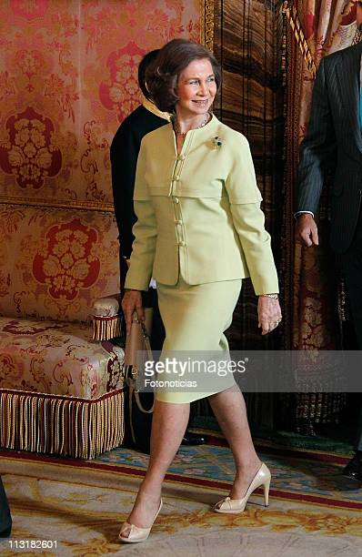 Queen Sofia of Spain attends a lunch in ocassion of the '2011 Cervantes Award' at The Royal Palace on April 26, 2011 in Madrid, Spain.