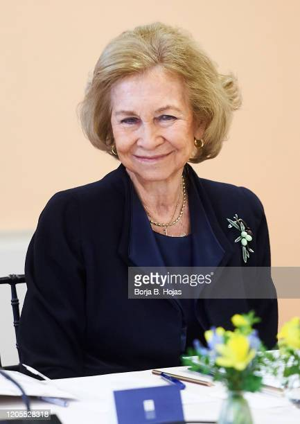 Queen Sofia of Spain attends a meeting with Board of Superior School Of Music 'Reina Sofia' on February 11, 2020 in Madrid, Spain.