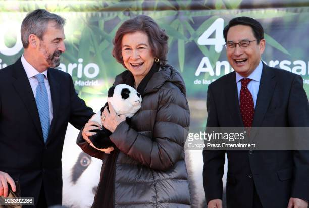 Queen Sofia of Spain attends an official act for the conservation of giant panda bears at Zoo Aquarium on February 23 2018 in Madrid Spain