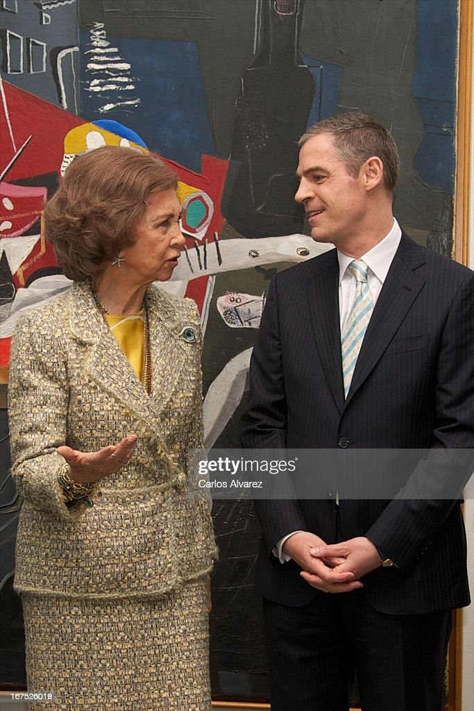 Queen Sofia of Spain (L) attends Dali exhibition at Reina Sofia museum on April 26, 2013 in Madrid, Spain.