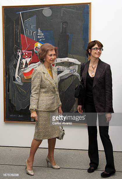 Queen Sofia of Spain attends Dali exhibition at Reina Sofia museum on April 26 2013 in Madrid Spain