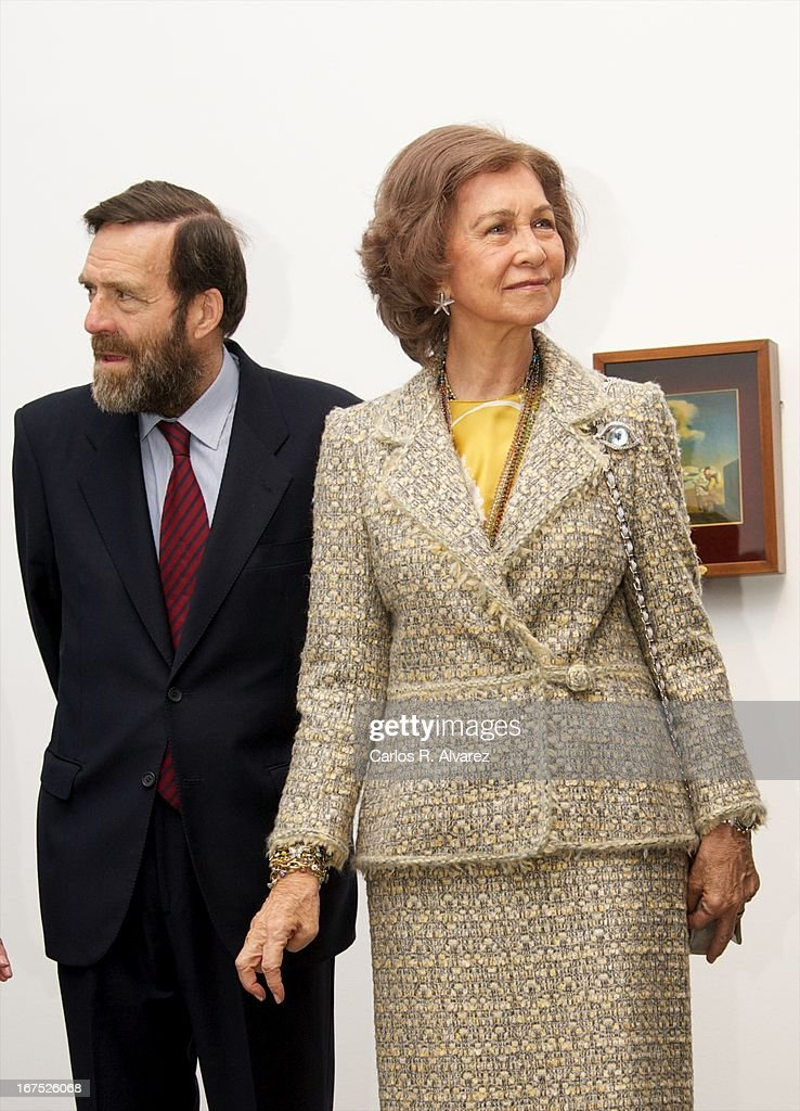 Queen Sofia of Spain (R) attends Dali exhibition at Reina Sofia museum on April 26, 2013 in Madrid, Spain.