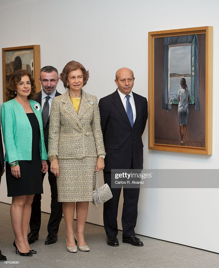 Queen Sofia of Spain (C) attends Dali exhibition at Reina Sofia museum on April 26, 2013 in Madrid, Spain.