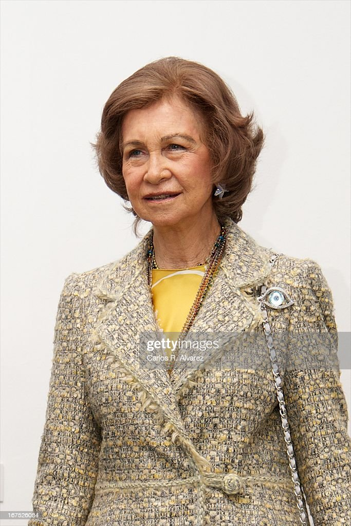 Queen Sofia of Spain attends Dali exhibition at Reina Sofia museum on April 26, 2013 in Madrid, Spain.