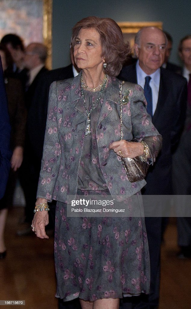 Queen Sofia of Spain attends 'El Joven Van Dyck' exhibition at the Prado Museum on November 19, 2012 in Madrid, Spain.