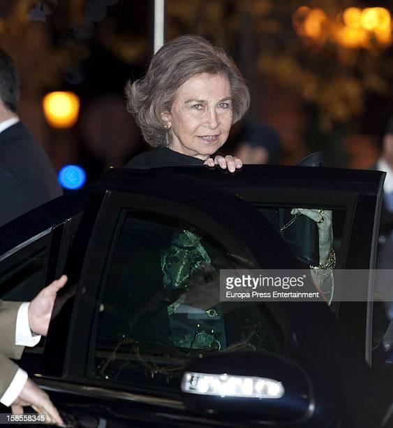 Queen Sofia of Spain attends 'El Legado Casa de Alba' art exhibition at Palacio Cibeles on December 18 2012 in Madrid Spain
