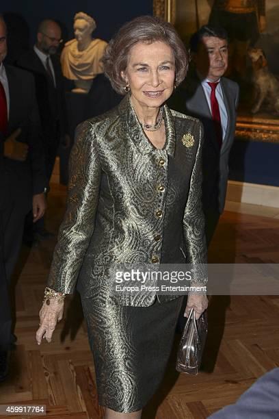 Queen Sofia of Spain attends 'El Retrato en las Colecciones Reales de Juan de Flandes a Antonio Lopez' exhibition at the Royal Palace on December 3...