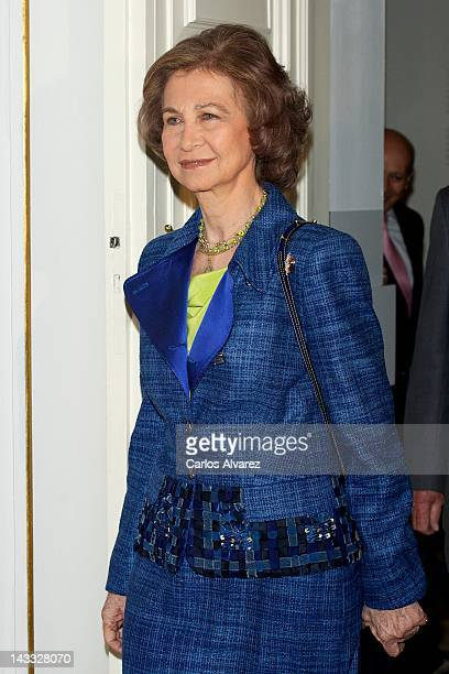 Queen Sofia of Spain attends 'Encuadernaciones en las Bibliotecas Reales' exhibition at Royal Palace on April 24 2012 in Madrid Spain