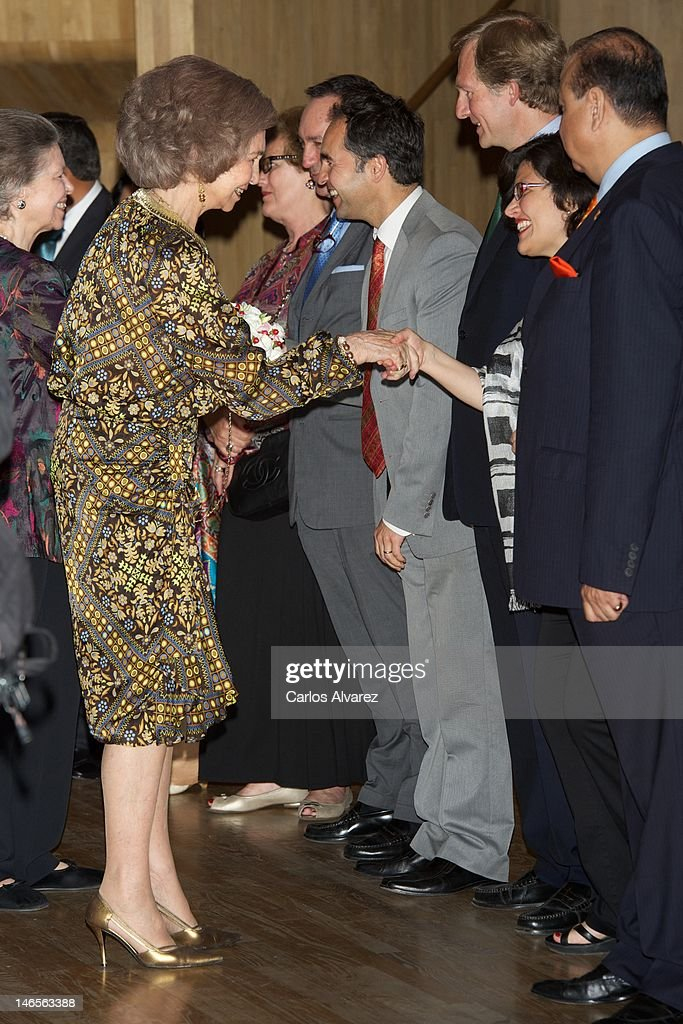 Queen Sofia of Spain (L) attends 'India en Concierto' concert at Caixa Forum on June 19, 2012 in Madrid, Spain.
