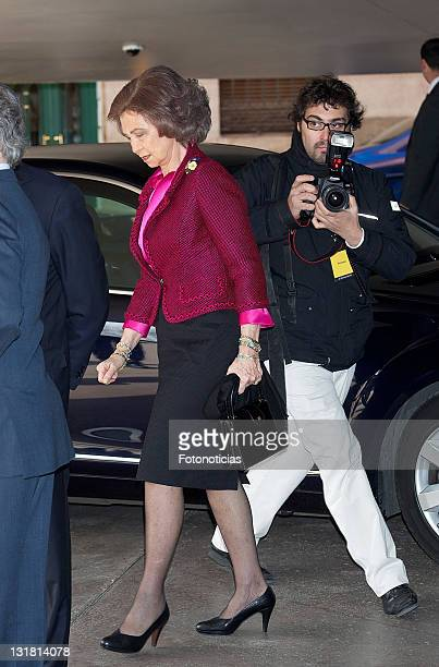 Queen Sofia of Spain attends La Caixa grants ceremony at CaixaForum on March 1 2011 in Madrid Spain