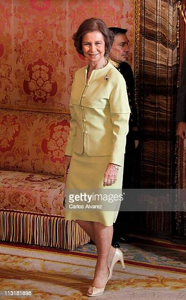 Queen Sofia of Spain attends lunch in ocassion of the '2011 Cervantes Award' at the Royal Palace on April 26 2011 in Madrid Spain