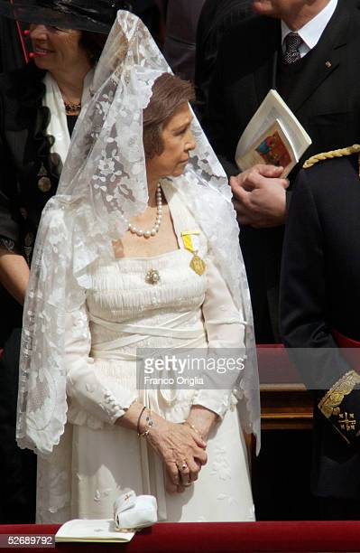 Queen Sofia of Spain attends Pope Benedict XVI's inaugural mass in Saint Peter's Square April 24 2005 in Vatican City Hundreds of thousands of...