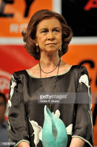 Queen Sofia of Spain attends the 29th Copa del Rey Mapfre Audi Sailing Cup Awards Celebration at Ses Voltes Cultural Center on August 7 2010 in Palma...