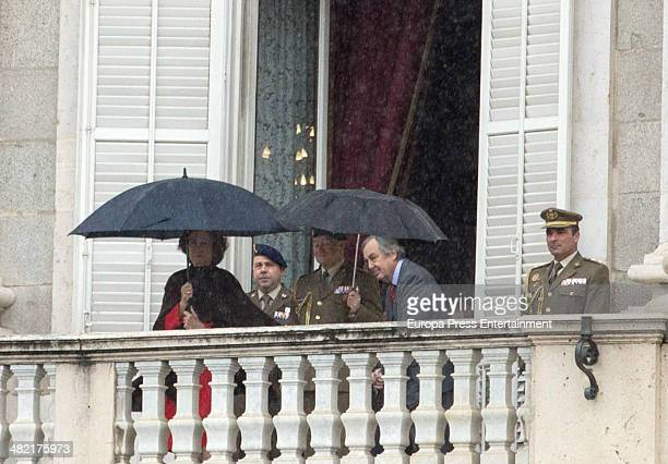 Queen Sofia of Spain attends the Changing of the Guard Ceremony at Royal Palace on April 2 2014 in Madrid Spain