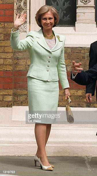 Queen Sofia Of Spain attends the christening of Crown Prince Crown Princess Pavlos of Greece''s son Achileas Andraes June 7 2001 at the Greek...