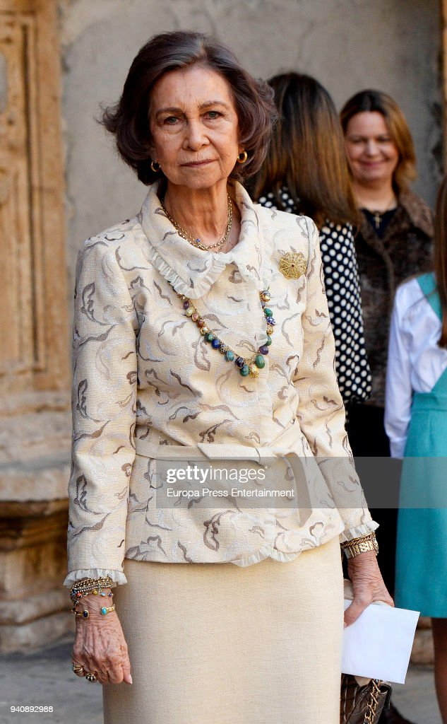 Queen Sofia of Spain attends the Easter mass on April 1, 2018 in Palma de Mallorca, Spain.