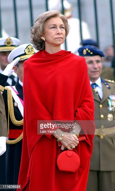 Queen Sofia of Spain attends the first official event of 2003 during the traditional Pascua Militar at the Royal Palace in Madrid
