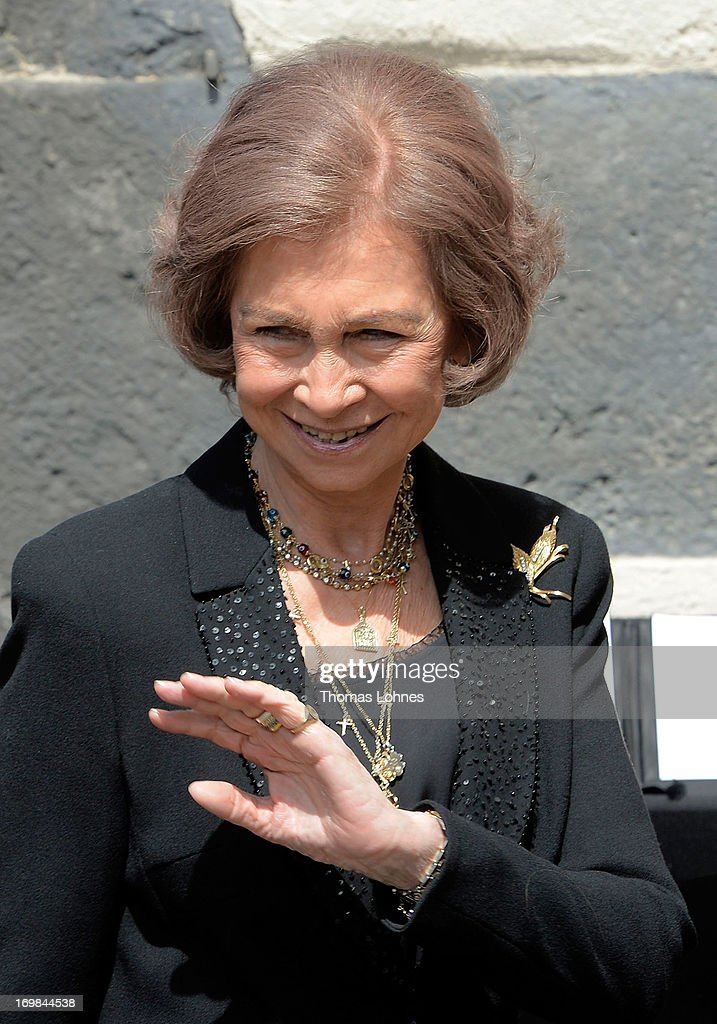 Queen Sofia of Spain attends the funeral service of Moritz Landgrave of Hesse at Johanniskirche on June 3, 2013 in Kronberg, Germany. Moritz of Hesse died aged 86 years on May 23 in Frankfurt. A great-grandson of the Emperor Frederick III and great-grandson of Queen Victoria, he was related to many European royal families.