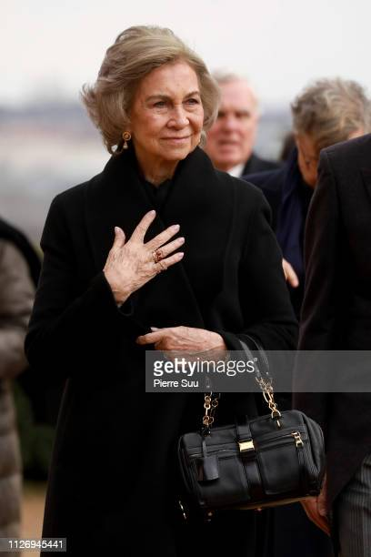 Queen Sofia of Spain attends the Funerals Of Prince Henri Of Orleans Count Of Paris At Chapelle Royale on February 02 2019 in Dreux France