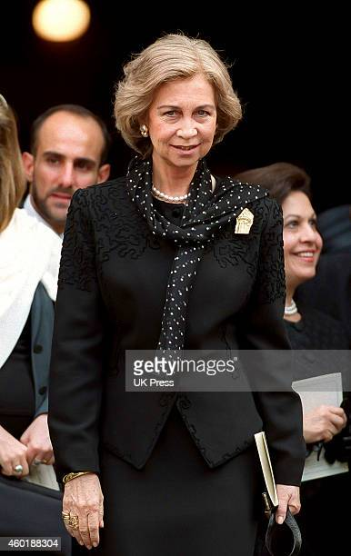 Queen Sofia of Spain attends The King Hussein Memorial Service at St Paul's Cathedral in London on July 5 1999 in LondonEngland