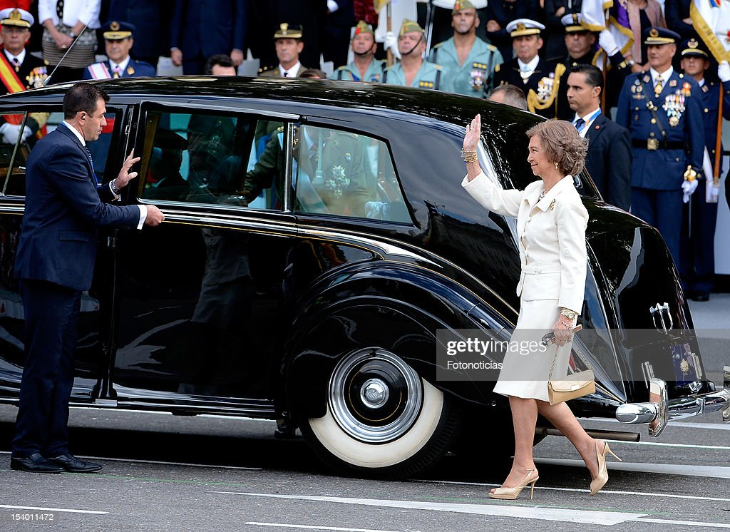 Queen Sofia of Spain attends the National Day Military Parade on October 12, 2012 in Madrid, Spain.