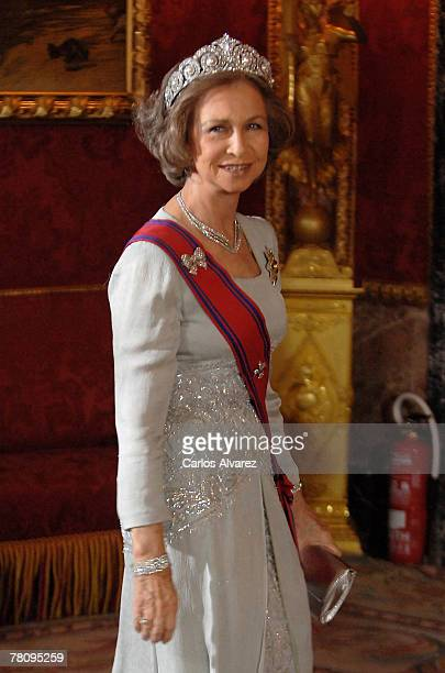 Queen Sofia of Spain attends the Royal Gala Dinner in honour of Rumanian President Traian Basescu and his wife at the Royal Palace on November 26...