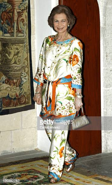 Queen Sofia of Spain attends traditional summer dinner at the Almudaina Palace on August 5 2011 in Palma de Mallorca Spain