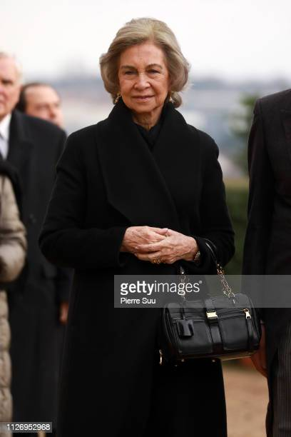 Queen Sofia of Spain attends tthe funeral of Prince Henri Of Orleans Count Of Paris At Chapelle Royale on February 02 2019 in Dreux France