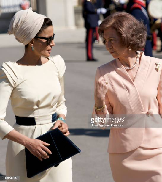 Queen Sofia of Spain bids farewell to Sheikha Mozah Bint Nasser at El Pardo Palace on April 27 2011 in Madrid Spain