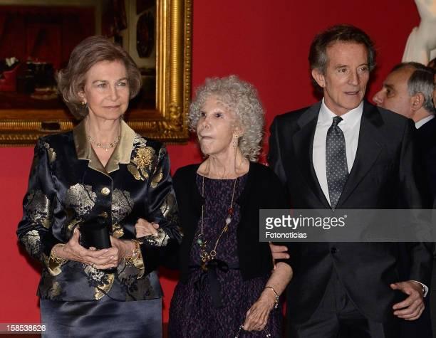 Queen Sofia of Spain Cayetana FitzJames Stuart Duchess of Alba and her husband Alfonso Diez attend 'El Legado Casa de Alba' exhibition at the Palacio...