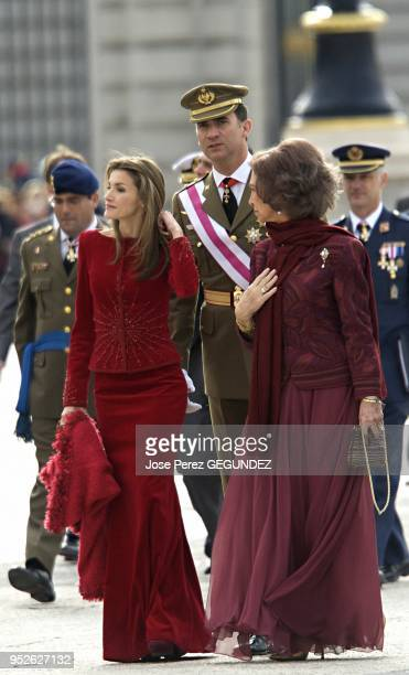 Queen Sofia of Spain, Crown Prince Felipe and Crown Princess Letizia attend the annual 'Pascua Militar' day at the Palacio Real on January 6, 2009 in...