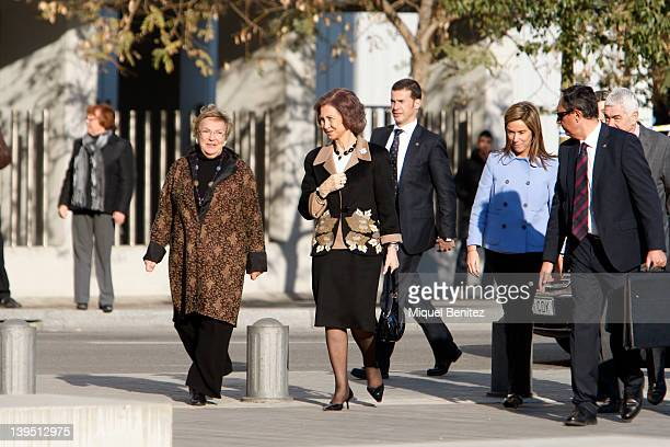 Queen Sofia of Spain Diana Garrigosa Minister of Health Ana Mato and Pasqual Maragall visit the Pasqual Maragall Foundation at the Barcelona...