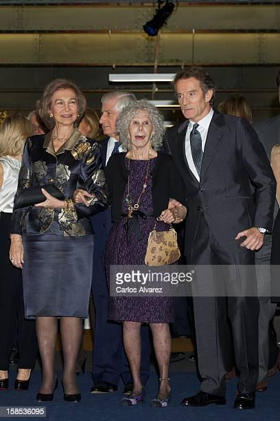 Queen Sofia of Spain Duchess of Alba Cayetana FitzJames Stuart and husband Alfonso Diez attend El Legado Casa de Alba Art exhibition at the Palacio...
