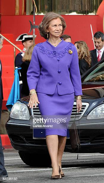 Queen Sofia of Spain during Spain's National Day Military Parade on October 12 2008 in Madrid Spain Spain's National Day commemorates the discovery...
