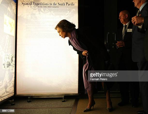 Queen Sofia of Spain examines one of the exhibits at the Maritime Museum on June 22 2009 in Auckland New Zealand The Royal couple are undertaking two...